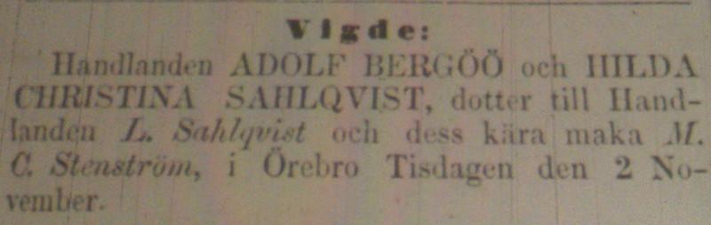 Adolf och Hilda vigda